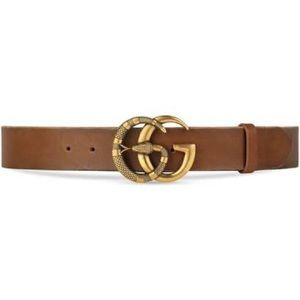 Gucci brown GG logo belt with snake detail